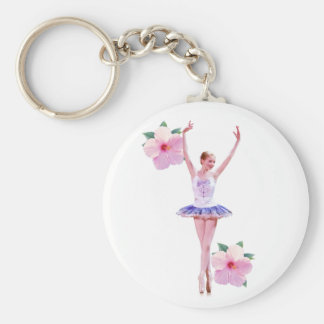 Ballerina and Hibiscus Keychain