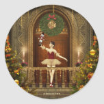 Ballerina and Nutcracker Holiday Round Stickers