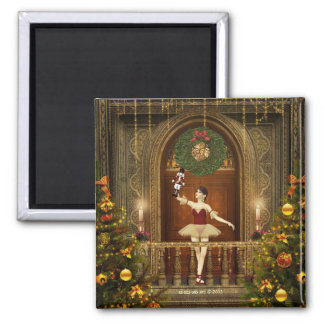 Ballerina and Nutcracker Square Holiday Magnet