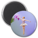 Ballerina and Orchid 2 Inch Round Magnet