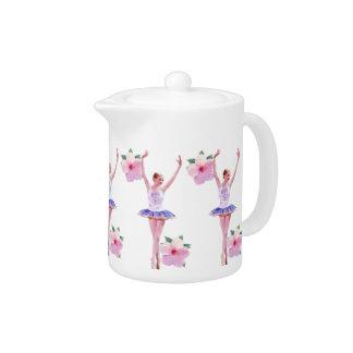 Ballerina and Pink Hibiscus Teapot