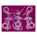 Ballerina and Pink Mums Poster