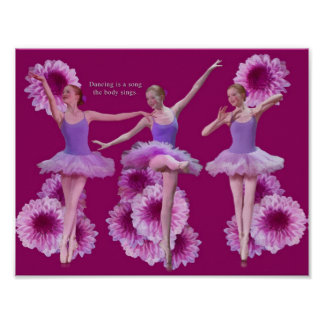 Ballerina and Pink Mums Print or Poster
