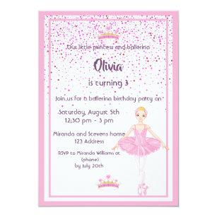Ballerina And Princess Birthday Party Invitations