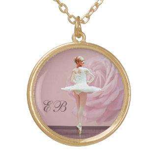 Ballerina  and Rose Customized Monogram Necklace