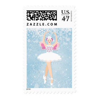 Ballerina and snowflakes stamp