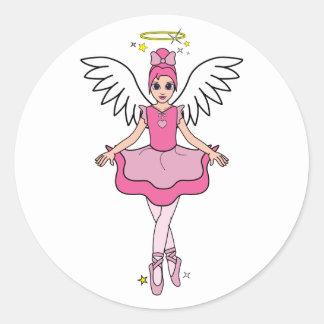 Ballerina Angel Classic Round Sticker