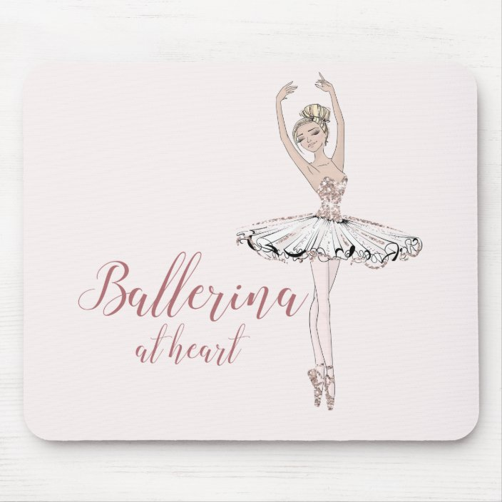 Ballerina At Heart Quote Simple Blush Pink Glitter Mouse Pad Zazzle Com