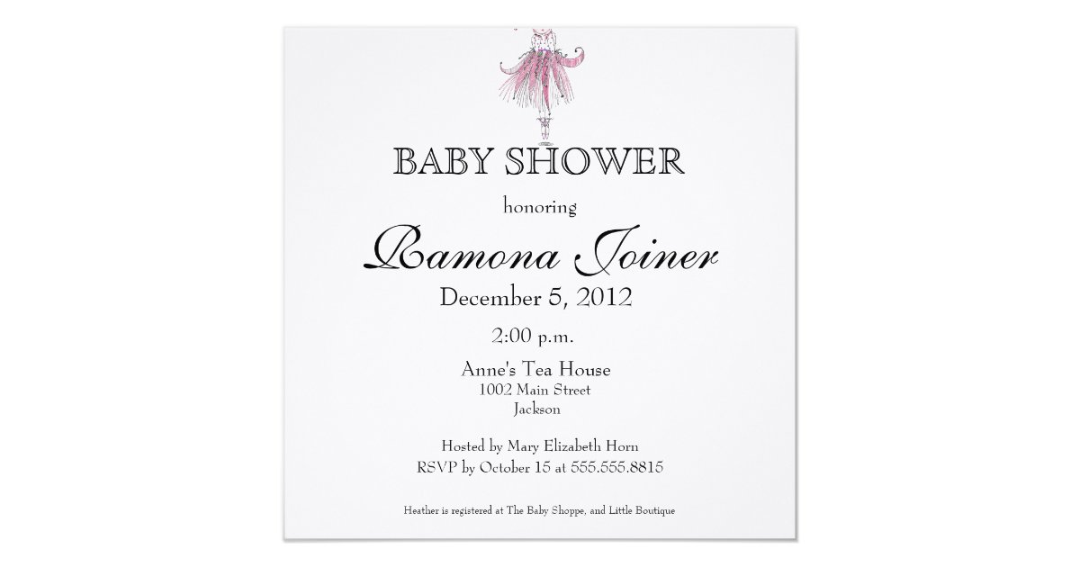 ballerina baby shower invitation zazzle