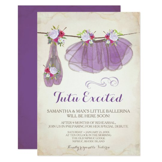 Ballerina Baby Shower Invitation Girl Purple Zazzle Com