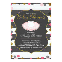 Ballerina baby shower invitation, Pink tutu baby Card