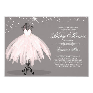 Ballerina Baby shower invitation, tutu excited Card