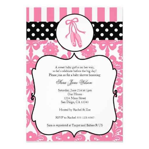 personalized ballerina baby shower invitations custominvitations4u