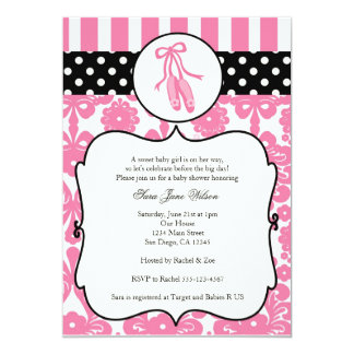 Ballerina Ballet Baby Shower Invitations - Pink