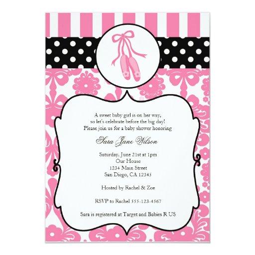 Ballerina Ballet Baby Shower Invitations - Pink