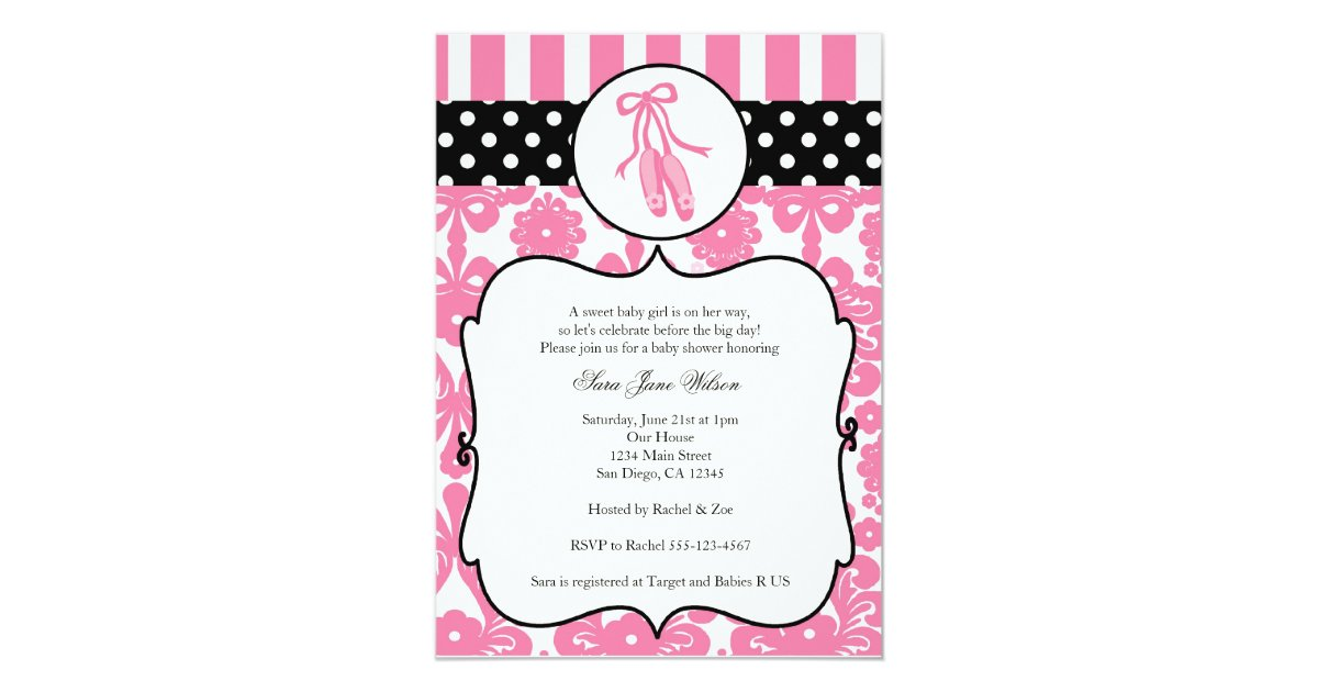 ballerina ballet baby shower invitations pink zazzle