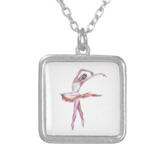 Ballerina , ballet dance art , dancr gifts square pendant necklace