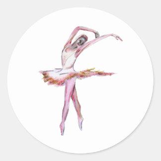 Ballerina , ballet dance art gifts, cards,t shirts classic round sticker