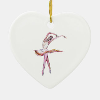 Ballerina , ballet dance art gifts, cards,t shirts Double-Sided heart ceramic christmas ornament