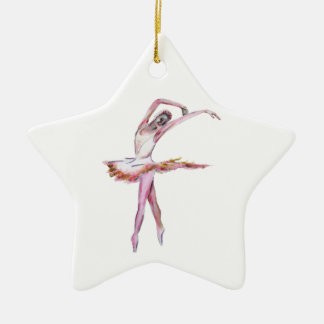 Ballerina , ballet dance art gifts, cards,t shirts Double-Sided star ceramic christmas ornament