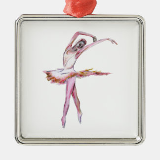 Ballerina , ballet dance art gifts, cards,t shirts square metal christmas ornament
