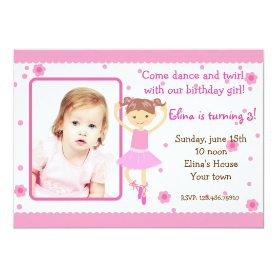Ballerina Ballet Photo Birthday Party Invitations