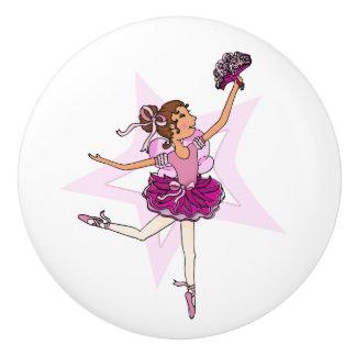 Ballerina ballet pink art doorknob ceramic knob