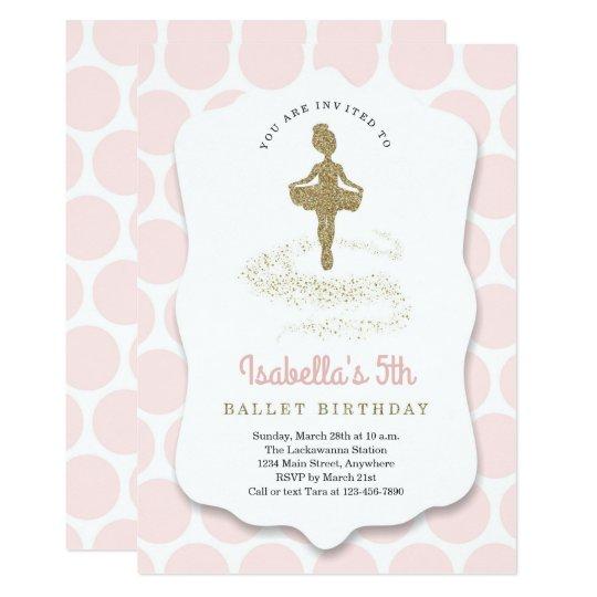 ballerina ballet themed for girls birthday party invitation