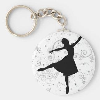Ballerina Basic Round Button Keychain