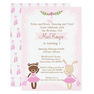 Ballerina Bear and Bunny Girl birthday invitation