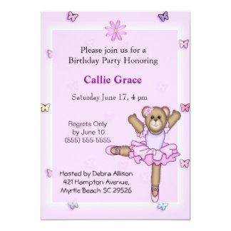 Ballerina Bear  Birthday Party Invitations