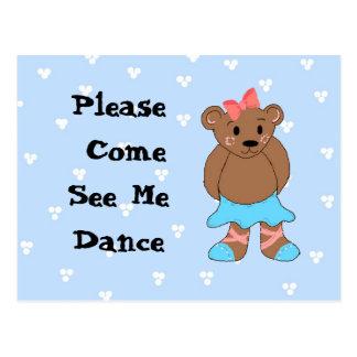 Ballerina Bear Dance Recital Invitation Postcard