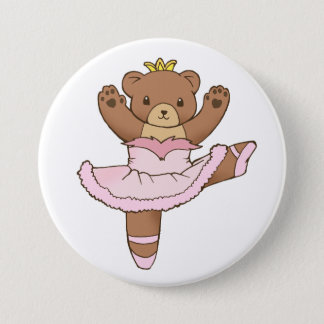 Ballerina Bear in Pink Tutu Button