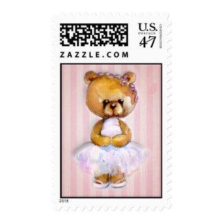 Ballerina Bear in Pink Tutu on Vintage Stripe Postage