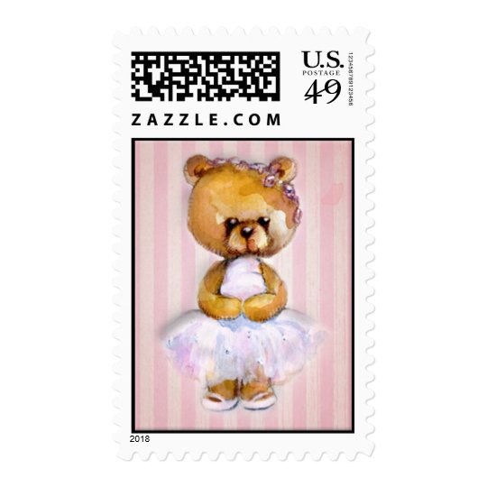 Ballerina Bear in Pink Tutu on Vintage Stripe Postage