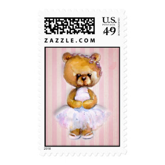 Ballerina Bear in Pink Tutu on Vintage Stripe Postage Stamp