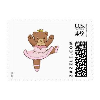 Ballerina Bear in Pink Tutu Stamp