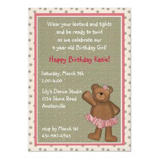 Ballerina Bear Invitation