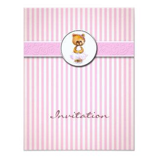 Ballerina Bear Pink Candy Stripe Invitation