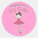 Ballerina Big Sister To Be Round Sticker