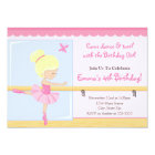 Ballerina Birthday Invitation Blonde 5x7 Card