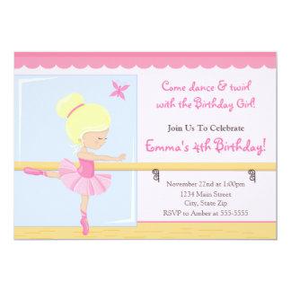Ballerina Birthday Invitation Blonde 5x7 Card
