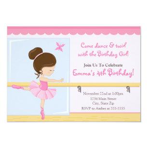 Ballerina birthday invitations announcements zazzle ballerina birthday invitation brunette 5x7 card filmwisefo
