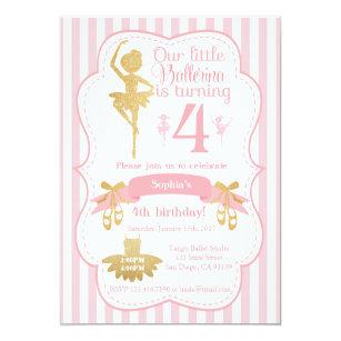 Ballerina birthday invitations announcements zazzle ballerina birthday invitation in pink and gold filmwisefo