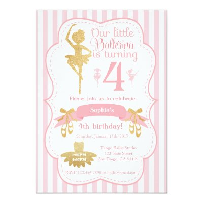 Ballerina Ballet First Birthday Invitation Zazzlecom