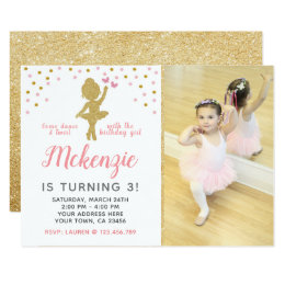Girls tutu birthday party invitations announcements zazzle ballerina birthday invitation with photo filmwisefo Image collections