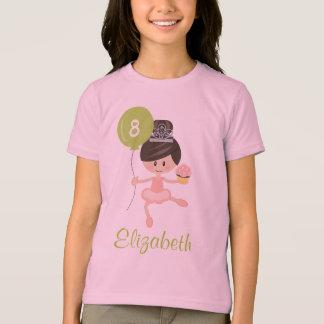 Ballerina Birthday Kids Ringer T-Shirt Brunette