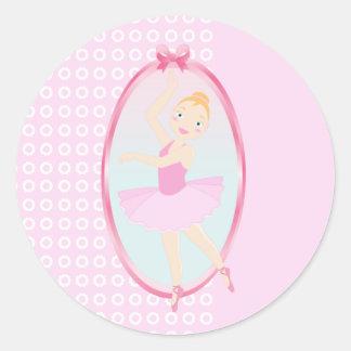 Ballerina birthday party classic round sticker