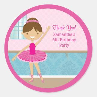 Ballerina Birthday Party Favor Stickers