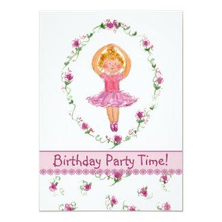 Ballerina Birthday Party Invitation Kids Flowers